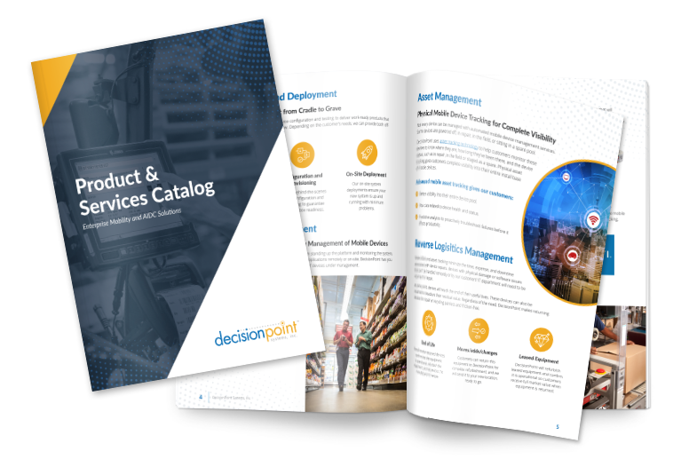 several pages of product and services catalog