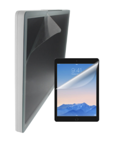 tablet and touchscreen monitor showing protective covering