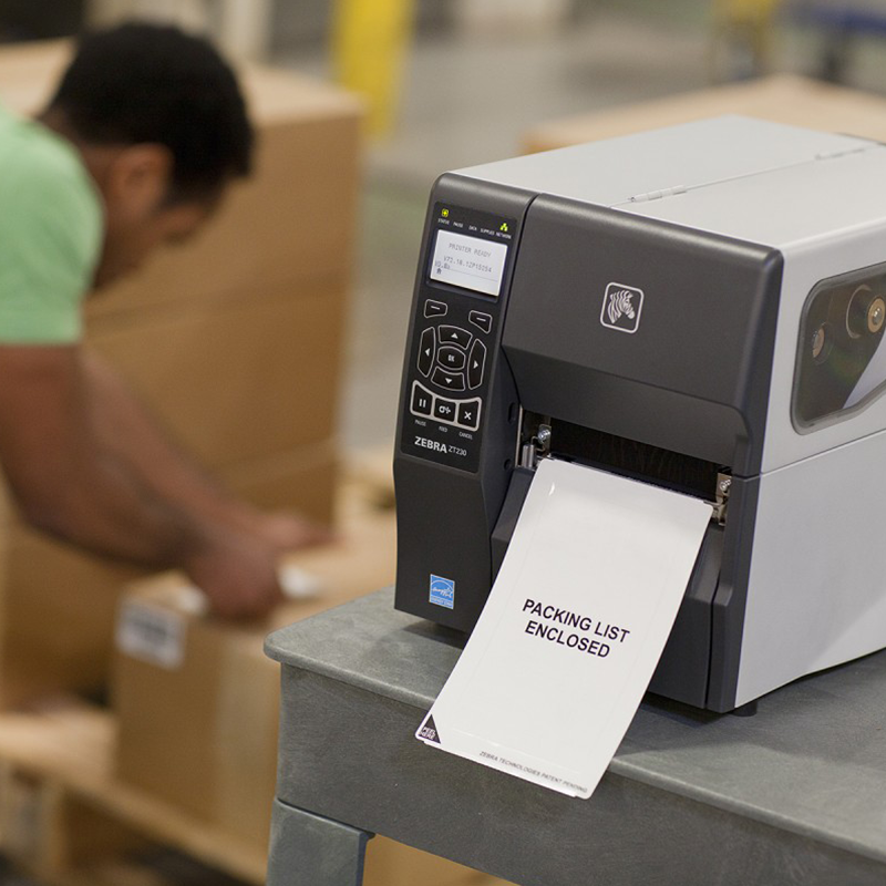 barcode printer in use